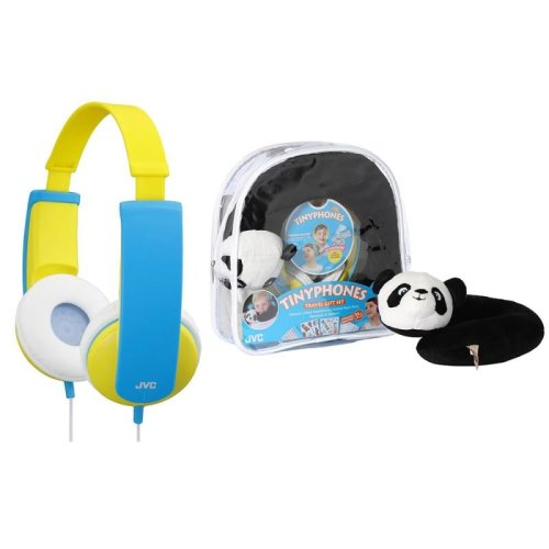 JVC HAKD5TRAV-Y Gift Set - Kid's Headphone, Neck Pillow, Backpack & Stickers