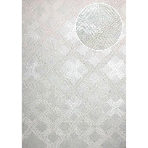 ATLAS XPL-588-6 Graphic wallpaper shimmering grey white aluminium 5.33 sqm