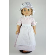 Unique Doll Clothing Colonial Pink Striped Dress for 18 Inch Dolls Including the American Girl Line
