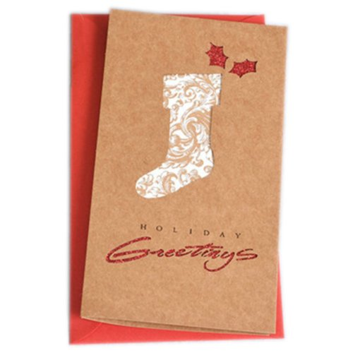 Christmas Cards Greeting Cards Christmas Gift Xmas Cards (4 Cards and Envelopes), Brown # 17