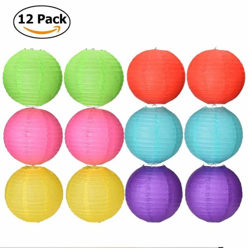 "Paper Lantern, Qtiwe Set of 12 Colored Paper Lampshade Paper Lamp for Birthday Wedding Celebration Party Deco Multicolor 8""(20cm)"