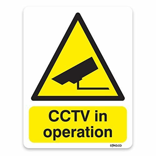 CCTV in operation Sticker - Site Safety & Security Signs - 10cm x 13cm on white self-adhesive vinyl, Warning Safety Sign
