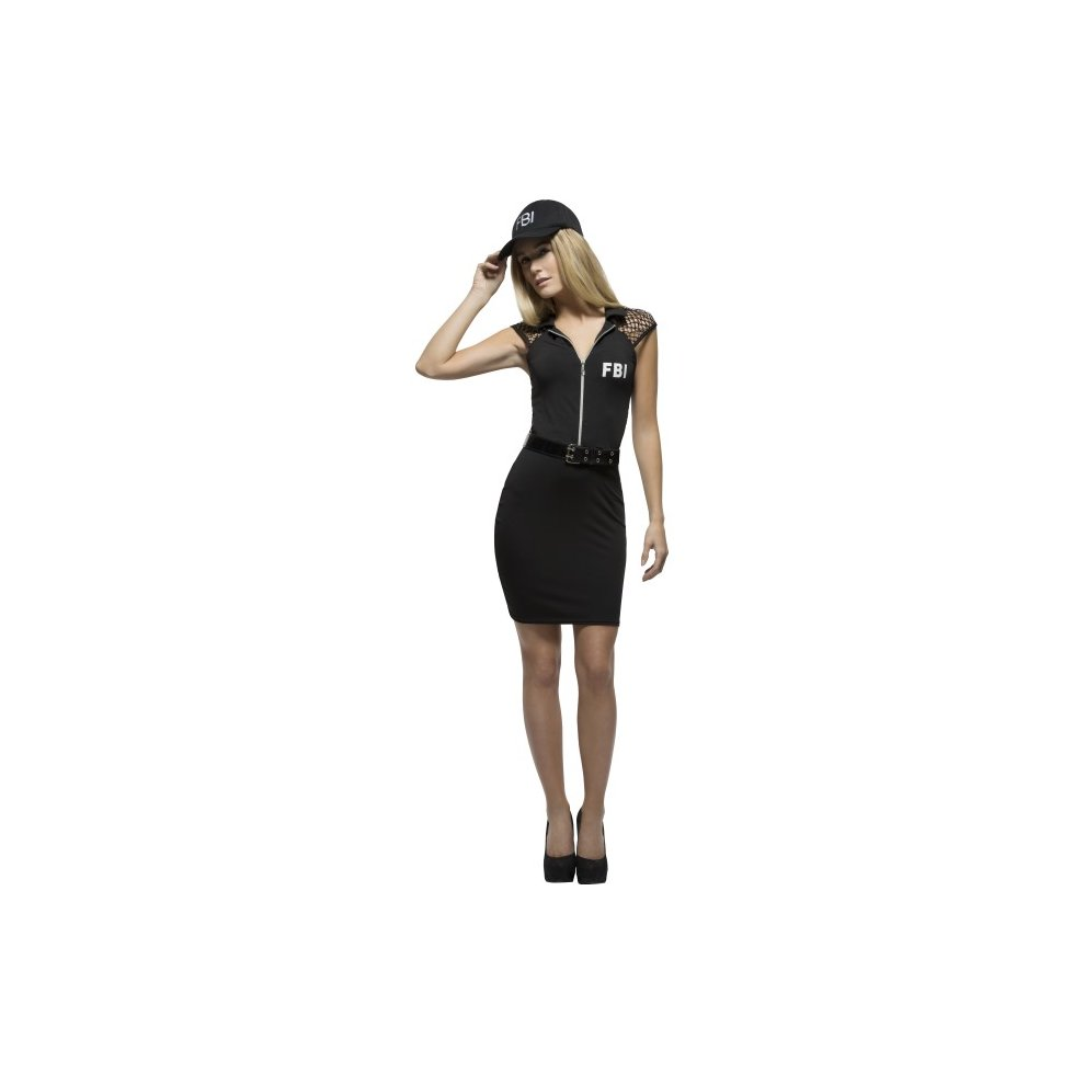 0be7fbd996 Smiffy's Women's Fever Fbi Costume, Pencil Skirt Dress, Belt And Cap, Cops,  - costume fbi fancy dress fever ladies cop womens adult police black on  OnBuy