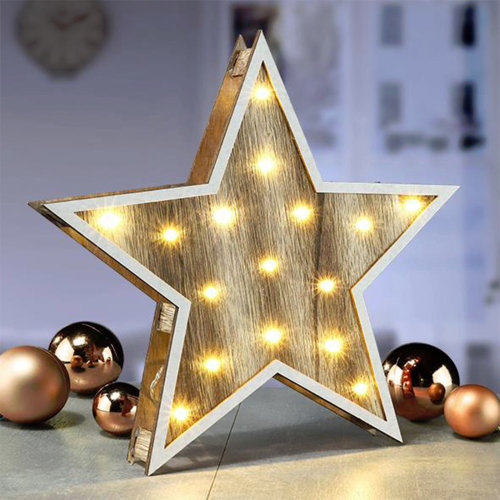 Wooden LED Standing Star with 16 Warm White Lights