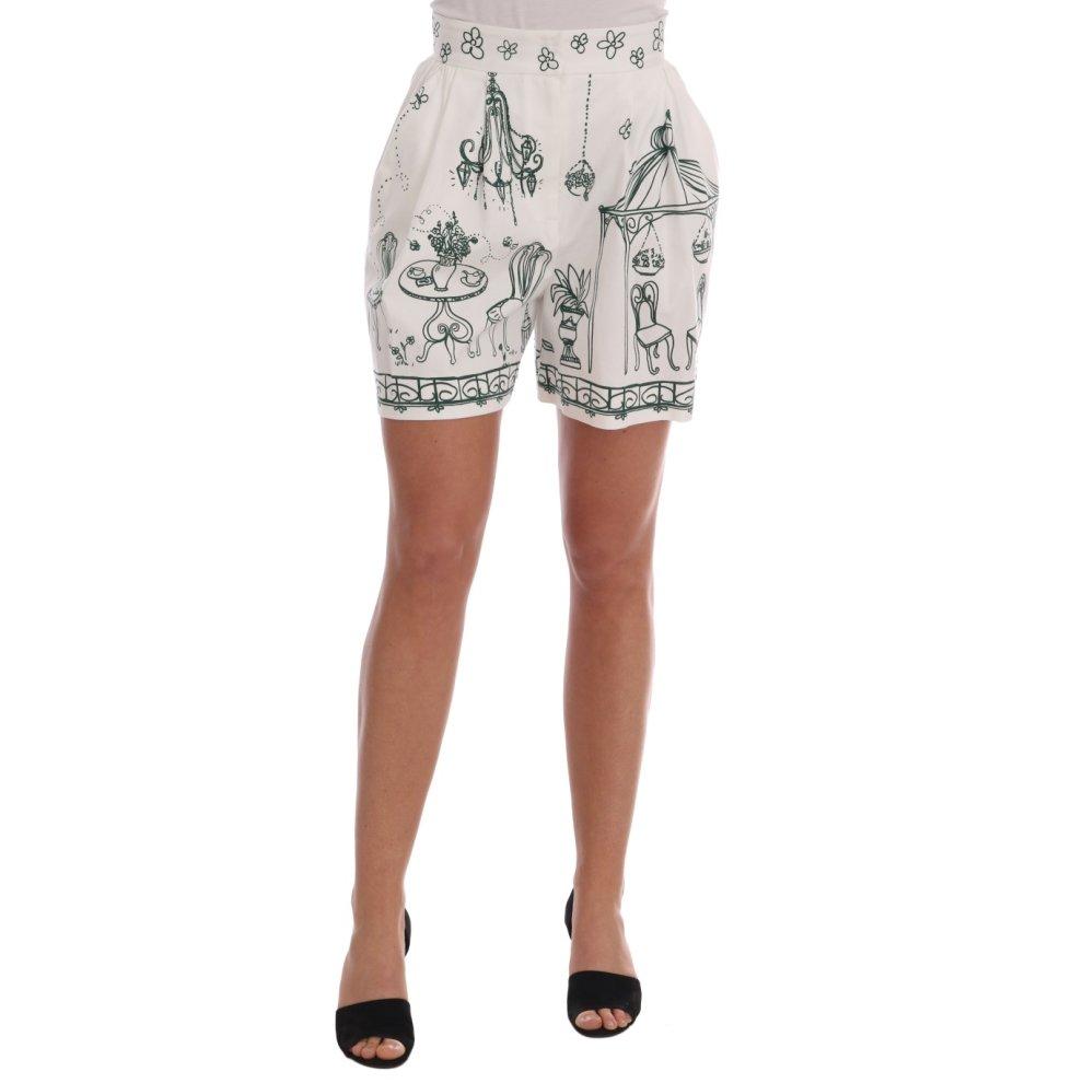 b30181974d2a2 Dolce & Gabbana White Green Sicily Motive Print Shorts