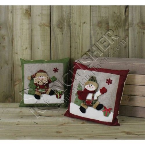 Snowman Hessian Christmas Cushion?(Hcush)