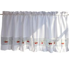 Sweet Strawberry Embroidered Curtain Kitchen curtain Coffee Screens