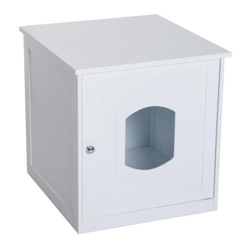 PawHut 2 in 1 Wooden Litter Box Toilet Cat Pet House 51 x 51 x 48.5 cm (White)
