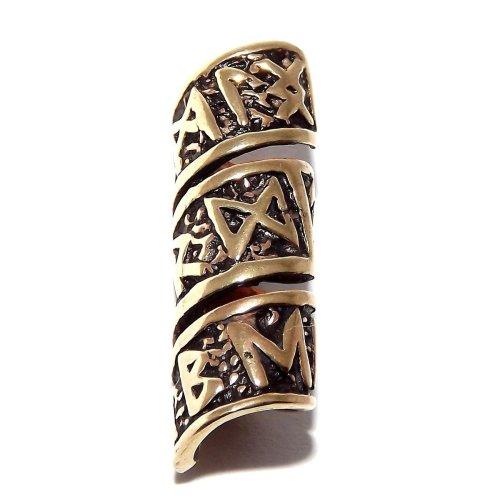 Viking Bronze Long Rune Beard Bead Ring