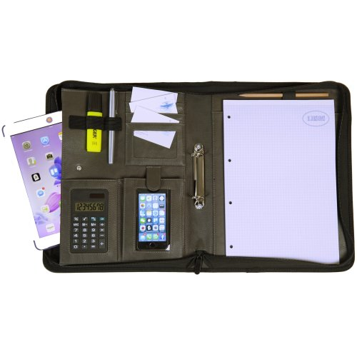 K.DESIGNS A4 Document Folder Black/Grey - The folder is made from high quality imitation leather - your ideal organiser with zip and ring binder to...