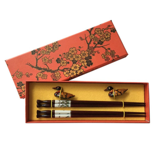 Chopsticks Reusable Set - Asian-style Natural Wooden Chop Stick Set with Case as Present Gift,S