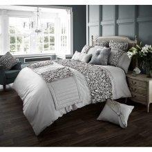 Verina grey ruffles cotton blend duvet cover