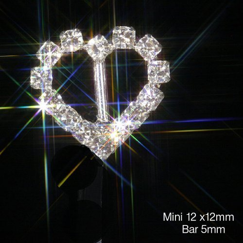 10 x MINI Diamante Silver Heart Rhinestone Ribbon Slider Buckles Embellishment Grade A Crystals Approx Size Wedding Card Invitations