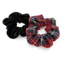 Pack of Two Hair Scrunchies Tartan and Black