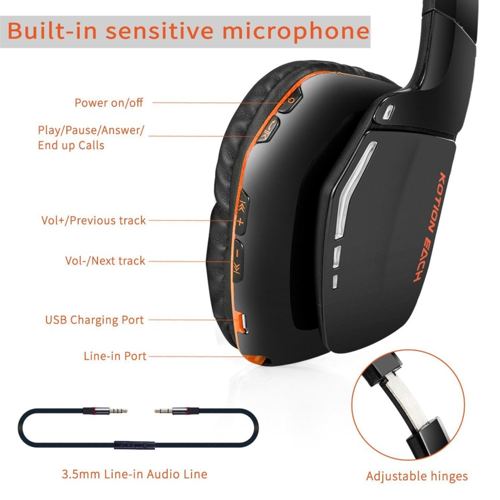 Bluetooth Headphones, Gaming Headset for PS4 XBOX ONE S (Connecting by  Line-in Cable) KOTION EACH B3506 Foldable V4 1 Wireless Headset with Mic  for