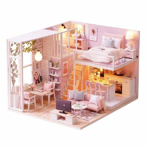 CUTEBEE Dollhouse Miniature Furniture, DIY Wooden DollHouse Kit Plus Dust Proof Music Movement, 1:24 Scale Creative Room Idea (Tranquil Life)