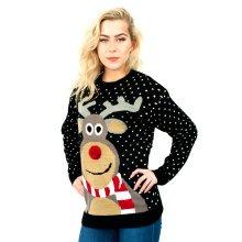 Miss Lulu Women Thicker Christmas Jumper Rudolph Knitted Sweater