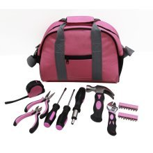 Pink Tool Kit DIY Tools Set in Carry Bag - Hammer, Pliers, Screwdriver - 25pcs