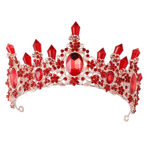 Chinese Wedding Style Bride Hair Decoration Accessories Alloy Red Crown