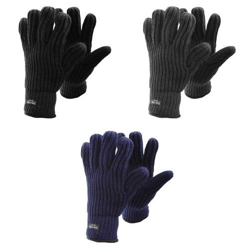 FLOSO Mens Ribbed Chunky Thinsulate Winter Thermal Gloves (3M 40g)