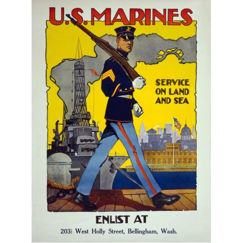 Advertising poster - U.S. Marines, Service on Land and Sea - High definition printing on stainless steel plate