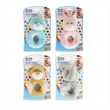 4 Assorted Babys First Steps Plush Rattle Toy