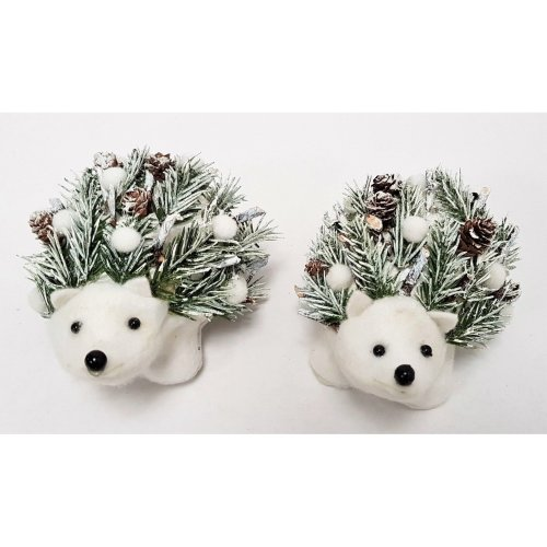 Set of 2 Christmas Snowy Hedgehogs - 9cm - Winter Decorations Pine