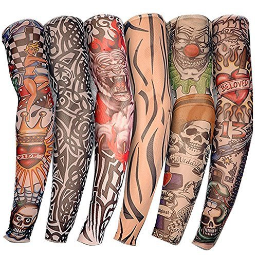 Comic Super Hero New Nylon Elastic Fake Temporary Tattoo Sleeve Designs Body Arm Stockings Tatoo for Cool Men Women (2pc/4pc/6pc) (Set of 6)