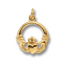 Mens Gold Claddagh Pendant On A Curb Necklace