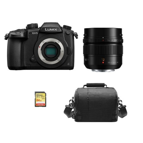 PANASONIC DMC-GH5 Black + 12mm F1.4 ASPH (HX012) + 64GB SD card + Bag