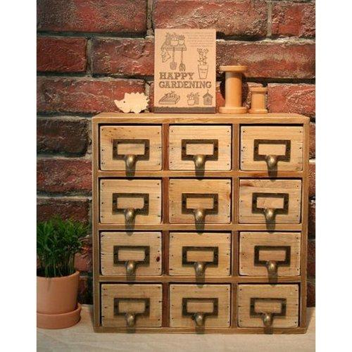 Handmade Wooden Shabby Storage Chest of 12 Drawers Organiser Cabinet