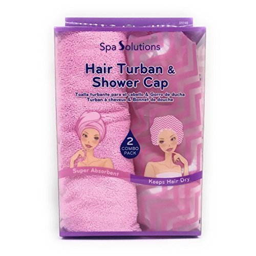 Spa Solutions Hair Turban Shower Cap 2 combo Pack Pink