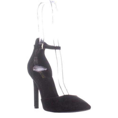 MICHAEL Michael Kors Lisa Pump Ankle Strap Heels, Black Suede, 4.5 UK