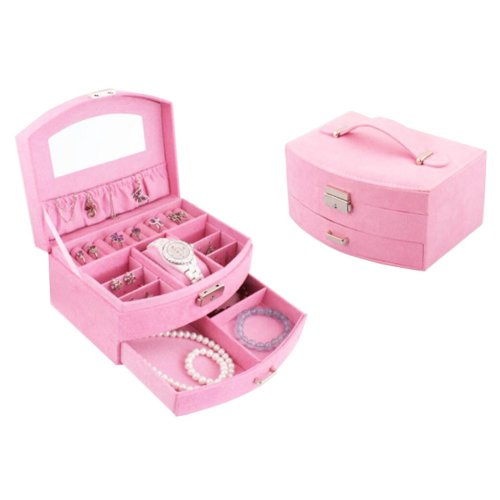 Portable Stylish Jewelry Box Ornaments Storage Boxes Jewelry Organizer -Pink