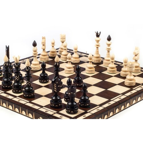 Brand New Large Luxury Indian Hand Carved Wooden Chess Set 53cm x 53cm by WT1