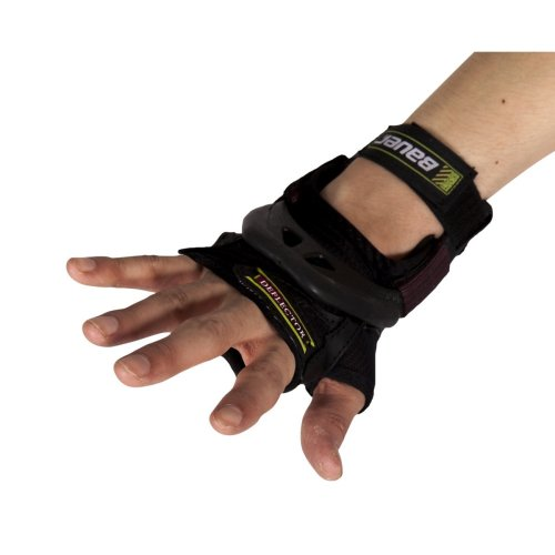 Bauer Deflector Wrist Guards Protective Gear for Skateboard, Roller, Skating, Scooter, Safety - SMALL (BLACK/BROWN STRAPS)