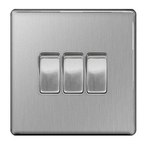 British General Decorative Screwless FBS43 Stainless Steel Light Switch 3 Gang, 2 Way