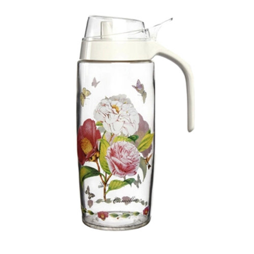 500ML Beautiful Glass Vinegar Bottle Oil Container Cruet, Camellia