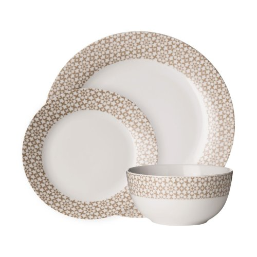 Avie 12Pc Casablanca Dinner Set, Natural & White