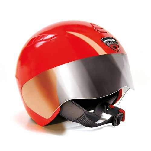 Peg Perego Ducati Casco Safety Helmet Size 55cm Made From Polystyrene With Fixed Transparent Visor and Soft Fabric Padding Colour Red Ages 2 Years+