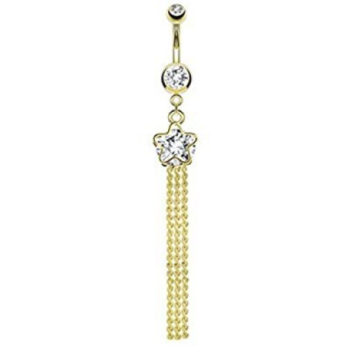 14kt Gold Plated Clear Crystal Shooting Star with Triple Chain Drop Belly Bar Piercing Thickness : 1.6mm Length : 10mm Material : Surgical Steel