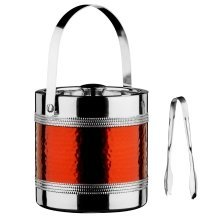 Ice Bucket and Tongs with Hammered Red Band - Stainless Steel