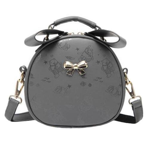 Leisure Elegant Single Shoulder Strap Bag Fashion Purse Cute Bow Round Printed Shoulder Bag?grey