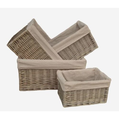 Antique Wash Lined Open Wicker Storage Baskets Set of 4
