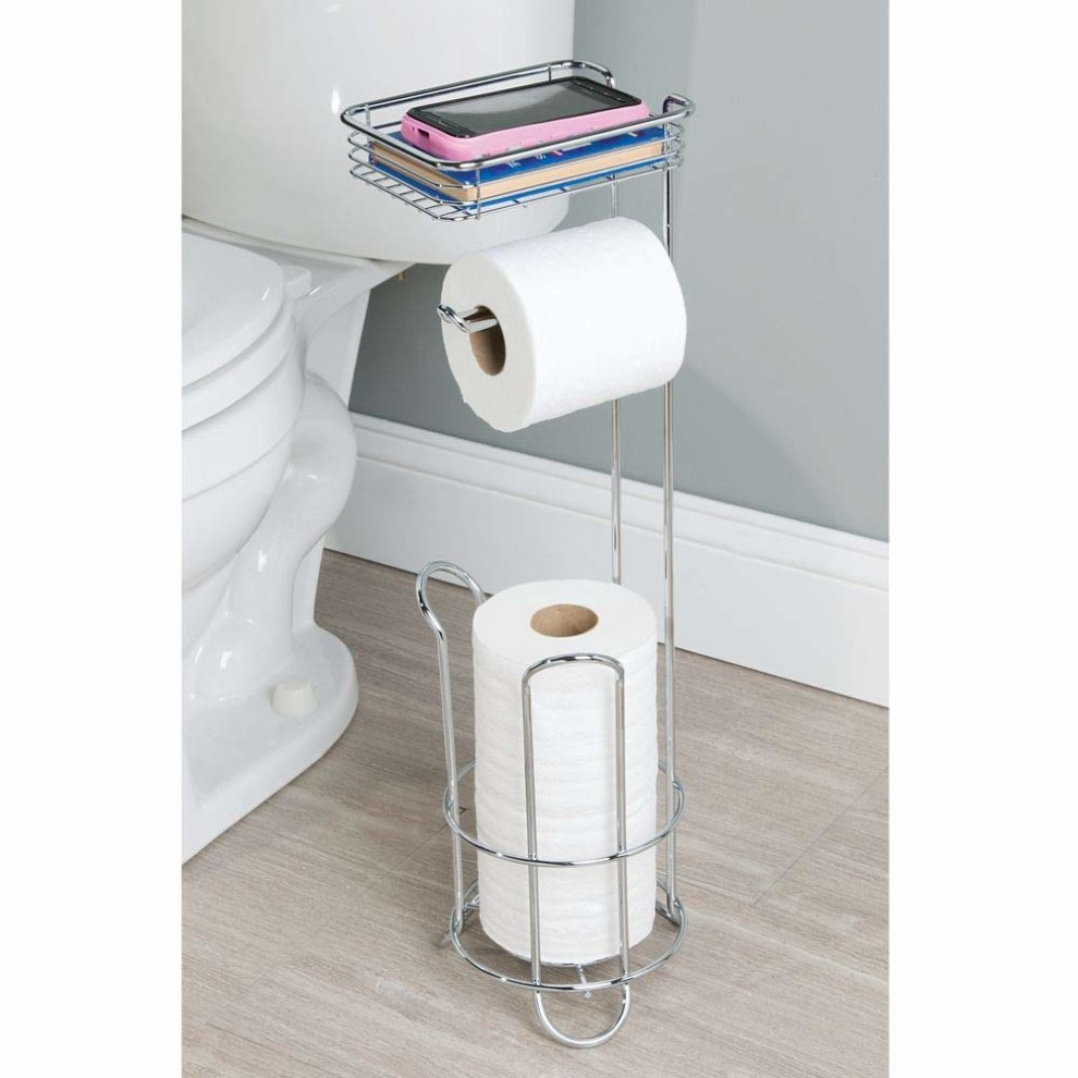 d57ee69b9f123b ... InterDesign Classico Bathroom Free Standing Toilet Roll Stand Holder  Plus with Shelf, Chrome - 4 ...