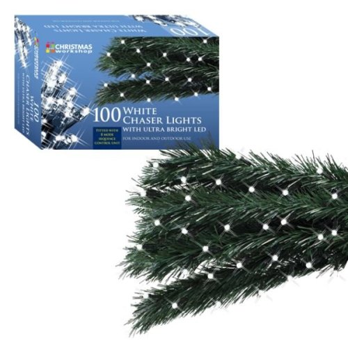 The Christmas Workshop Lights 100 Ultra Bright LED Xmas String Chaser Lights -White