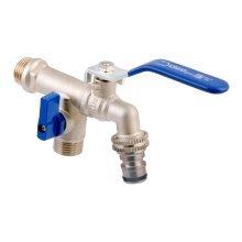 """Duo Garden Patio Brass Tap Valve Water Faucet with Handle 1/2"""" 3/4"""" BSP"""