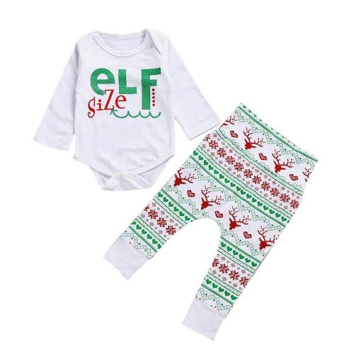 2017 Christmas Cute Newborn Infant Baby Boy Girl Clothes Romper Tops + Bus Long Pants 2PCS Outfit Set Baby Clothing