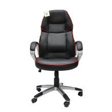 Tilt & Swivel Adjustable PU Leather Office Gaming Chair - Black & Red