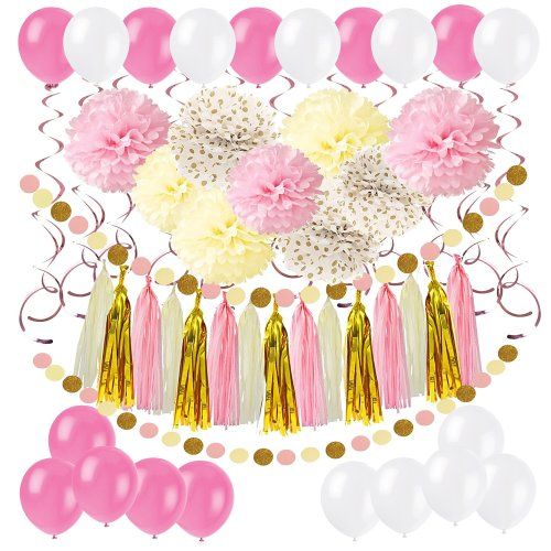 Cocodeko Diy Paper Pom Poms With Tissue Paper Tassel Polka Dot Garland Hanging Swirl Decorations And Balloon Kit For Birthday Wedding Showers